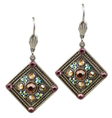 Anne Koplik Silver Plated Square Shaped Dangle Earrings with Textured Studs with Swarovski Crystal