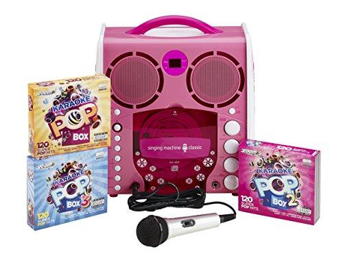 Singing Machine SML383P Pink Portable CD+G Karaoke Player with Zoom Karaoke Pop Box 1, 2 & 3 Karaoke Sets (360 Songs) + 3 Bonus Discs