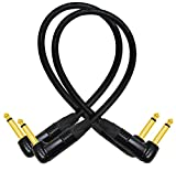 2 Units - 12 Inch - Guitar Instrument Cable CUSTOM MADE By WORLDS BEST CABLES – using Mogami 2524 wire and Neutrik NP2RX-B ¼ Inch (6.35mm) Right Angled Gold TS Connectors