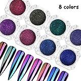 8 Box Nail Art Powder Shinning Mirror Nail Glitter Powder Gorgeous Nail Art Chrome Pigment Glitters 8 Colors