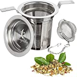 Loose Leaf Tea Infuser Set by Kichengarden - 1 Extra Fine Large Mesh Stainless Steel Tea Infuser - Fits Cups Mugs Teapots - Tea Ball Perfect for Steeping Black Green or Herbal Teas