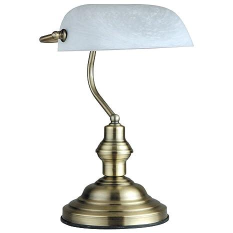LED 4,5 Watt Lámpara de Mesa Lámpara Banqueros Antigua Latón ...