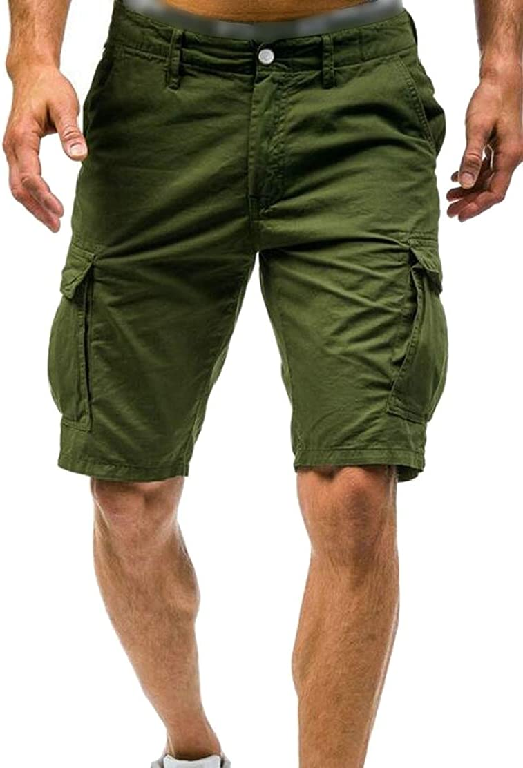 Jotebriyo Mens Straight Leg Classic Stretchy Outwear Multi Pockets Active Shorts