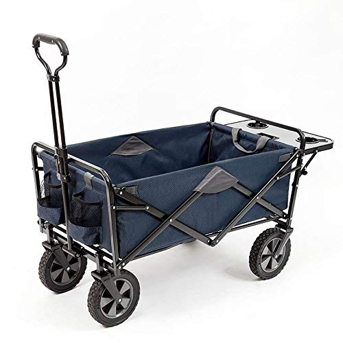 Mac Sports Collapsible Outdoor Utility Wagon with Folding Table and Drink Holders, Blue (Mac Sports Collapsible Folding Outdoor Utility Wagon)