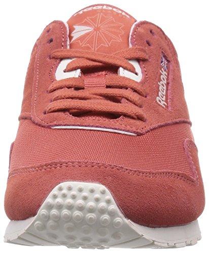 Femme Chalk Rouge Basses Rosette Nylon Pink Classic Slim Baskets Reebok Coral Luna Az4nX1q7n