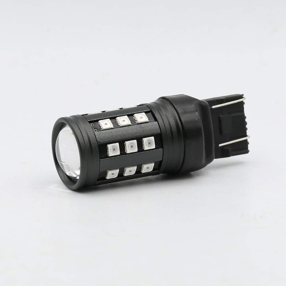 3157 Red Flashing Strobe Blinking Rear Alert Safety Brake Tail Stop High Power LED Light Bulbs Syneticusa