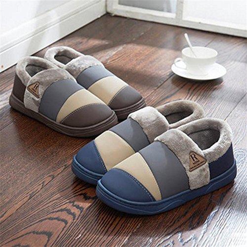 W&XY Zapatillas de hombre de invierno Zapato de cuero de nobuk forrado de piel de nobuk , 44