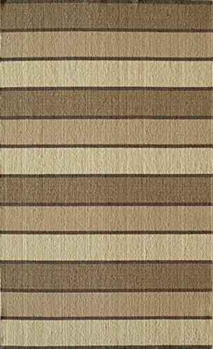 Momeni Rugs MARQUMRQ-7BGE5080 Marquis Collection, 100% Wool Hand Loomed Flatweave Contemporary Area Rug, 5' x 8', Beige Brown Striped Wool Rug