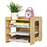Clobeau Wooden DIY 4 Tier Creative Desktop File Rack Paper Document Magazine Holder Sorter Office Home Desk Hanger A4 Tidy Storage Dispay Bin File Folder Dividers Cabinet File Shelf Organizer, Beige