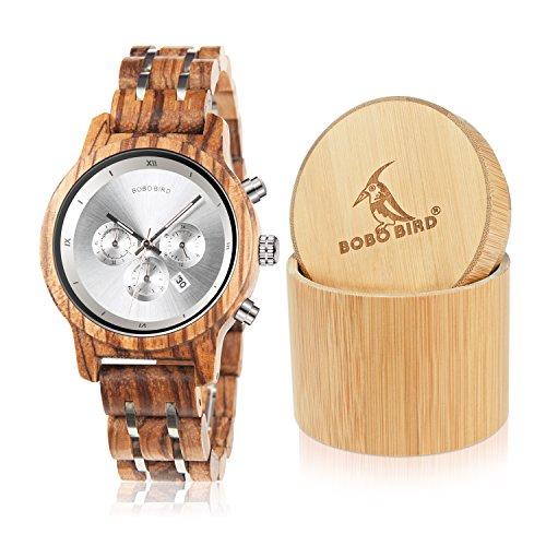 BOBO Bird Women Wooden Watches Luxury Wood Metal Strap Chronograph & Date Display Quartz Watch Fashion Zebra Wood Casual Business Ebony Wristwatches (Zebra-White)