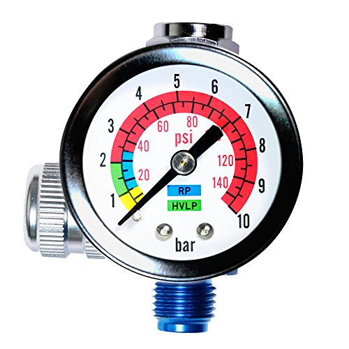 AIR COMPRESSOR REGULATOR with PRESSURE GAUGE, Accurately Controls Air Flow For Spray Guns & Air Tools. (AR-01, 1/4