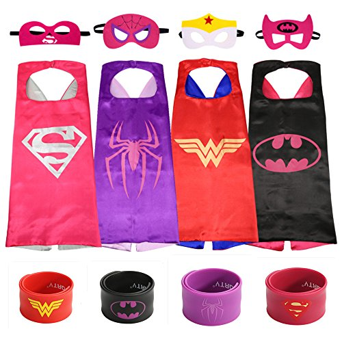 [Ecparty Superheros Cape and Mask Costumes Set Matching Wristbands For Kids (4 Pack)] (Superhero Cape Kids)