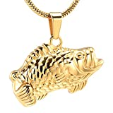 EternityMemory Fish Cremation Jewelry For Ashes - Stainless Steel Pet Loss Keepsake Urn Necklace Memorial Pendant (Gold)