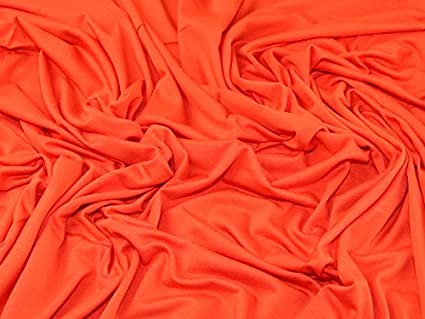 16be6253790 Image Unavailable. Image not available for. Color: Plain Viscose & Lycra  Stretch Jersey Knit Dress Fabric Fire Orange ...