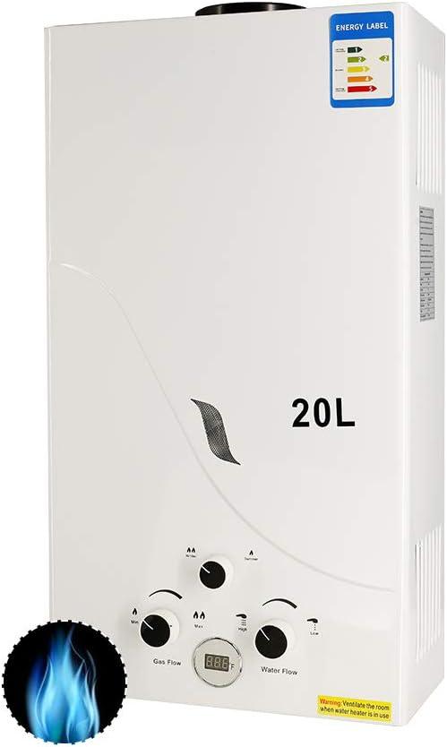 Calentador de Gas 20L, RBAYSALE 2400W Calentador de Agua de Gas 20L Calentador De Gas Butano Calentador de Agua Instantáneo Calentador Gas Propano Hot ...