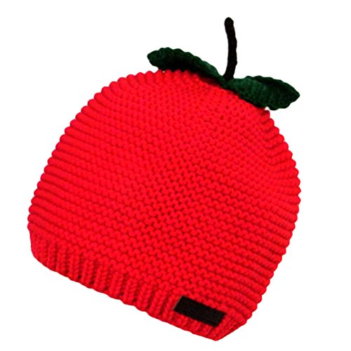 Price comparison product image MatchLife Baby Cute Winter Warm Cotton Knitted Apple Hats Kids Red Toddler Earflap Cap red l