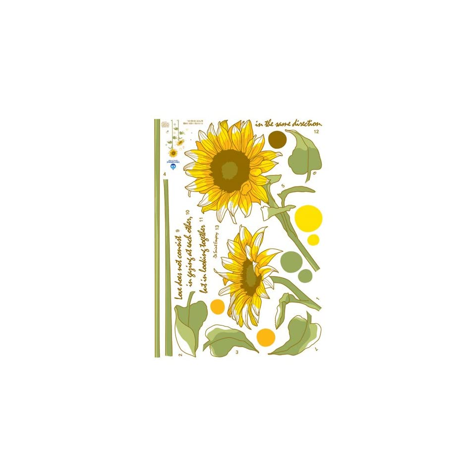 Reusable Decoration Wall Sticker Decal   Sunflower Love Quote