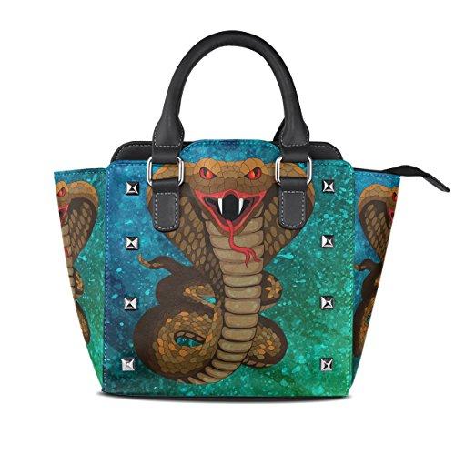 (Womens Handbag Genuine Leather Water Snake Purse Shoulder Tote Bag Satchel)