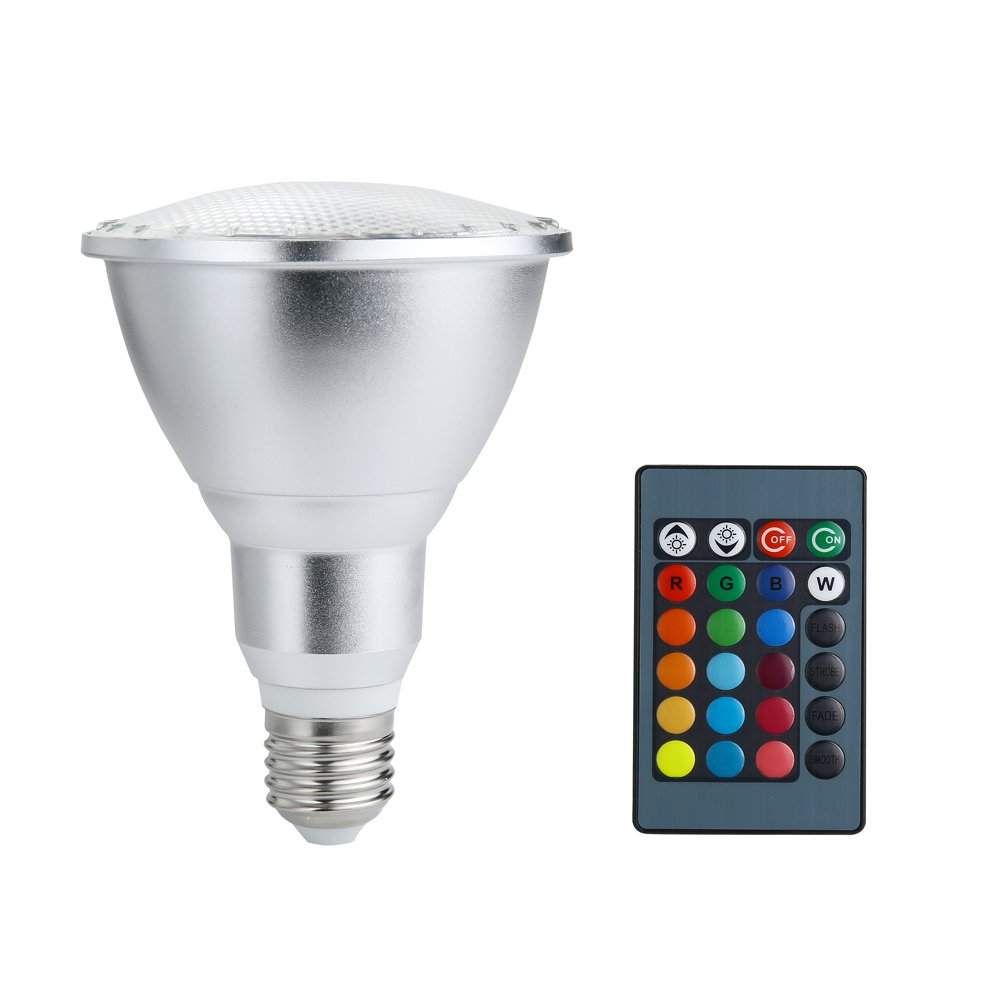 LMCO LED Floodlight E27 10W Color Changing Light Bulb PAR30 RGB Dimmable Indoor Outdoor Lamp with Remote Control for Hotel/Bars/ Home Decoration