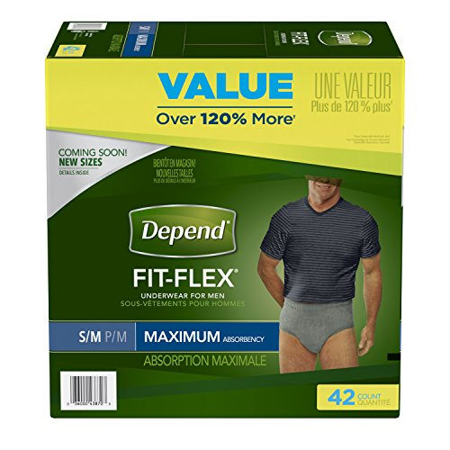 Depend FIT-FLEX Incontinence Underwear for Men, Maximum Absorbency, S/M, Gray (Packaging may - Fitflex