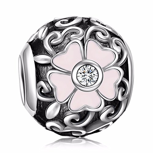 Angemiel 925 Sterling Silver Clear Enamel Primrose Filigree Flower Charms Bead for European Snake Chain Bracelets - Charm Filigree Flower
