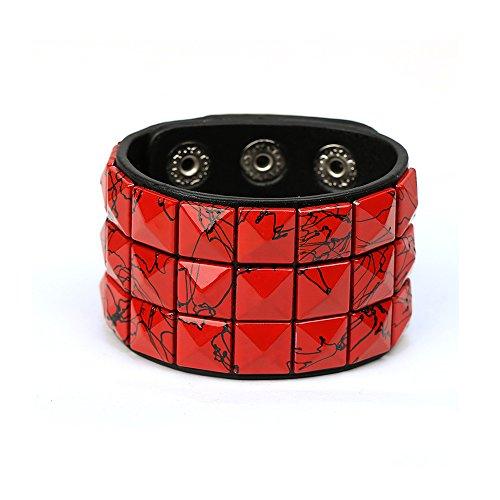 HyperionIE Color 3 Row Pyramid Stud Wristband Punk Leather Bracelet Jewelry Bracelet (B)