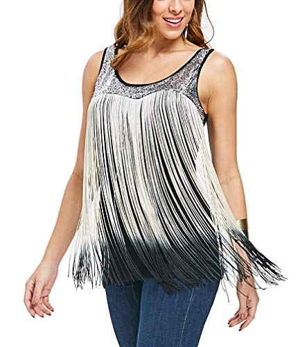 Tank Sequin Trim (YTJH Women's Summer Sequined Tank Top with Spaghetti Strap Fringe Cami Shirts Fringed)