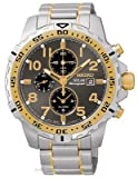 Seiko SSC304 Mens Solar Alarm Chronograph -Two-Tone - Black Dial - Day/Date