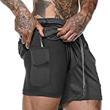 2019 Men's Compression Shorts, 2 in 1 Running Sports Shorts Quick Drying Breathable with Built-in Pocket Liner for Men