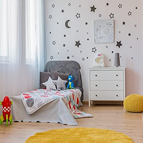Ofila Baby Room Backdrop 6x6ft Moon Stars Wallpaper Kids Bed Toys Newborn Portraits Children Birthday Shoots Toddlers Boys Girls Portraits Baby Shower