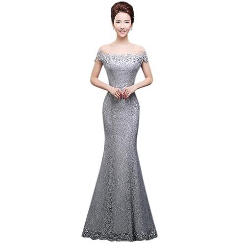 Drasawee Womens Off Shoulder Lace Prom Formal Dress Slim Mermaid Maxi Wedding Evening Gowns
