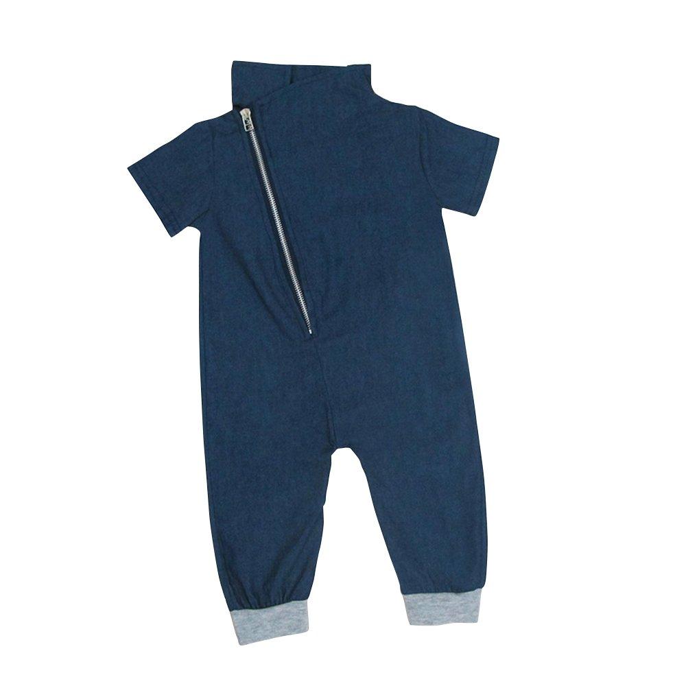 JIANLANPTT Newborn Toddler Baby Rompers Short Sleeve Jeans Jumpsuit