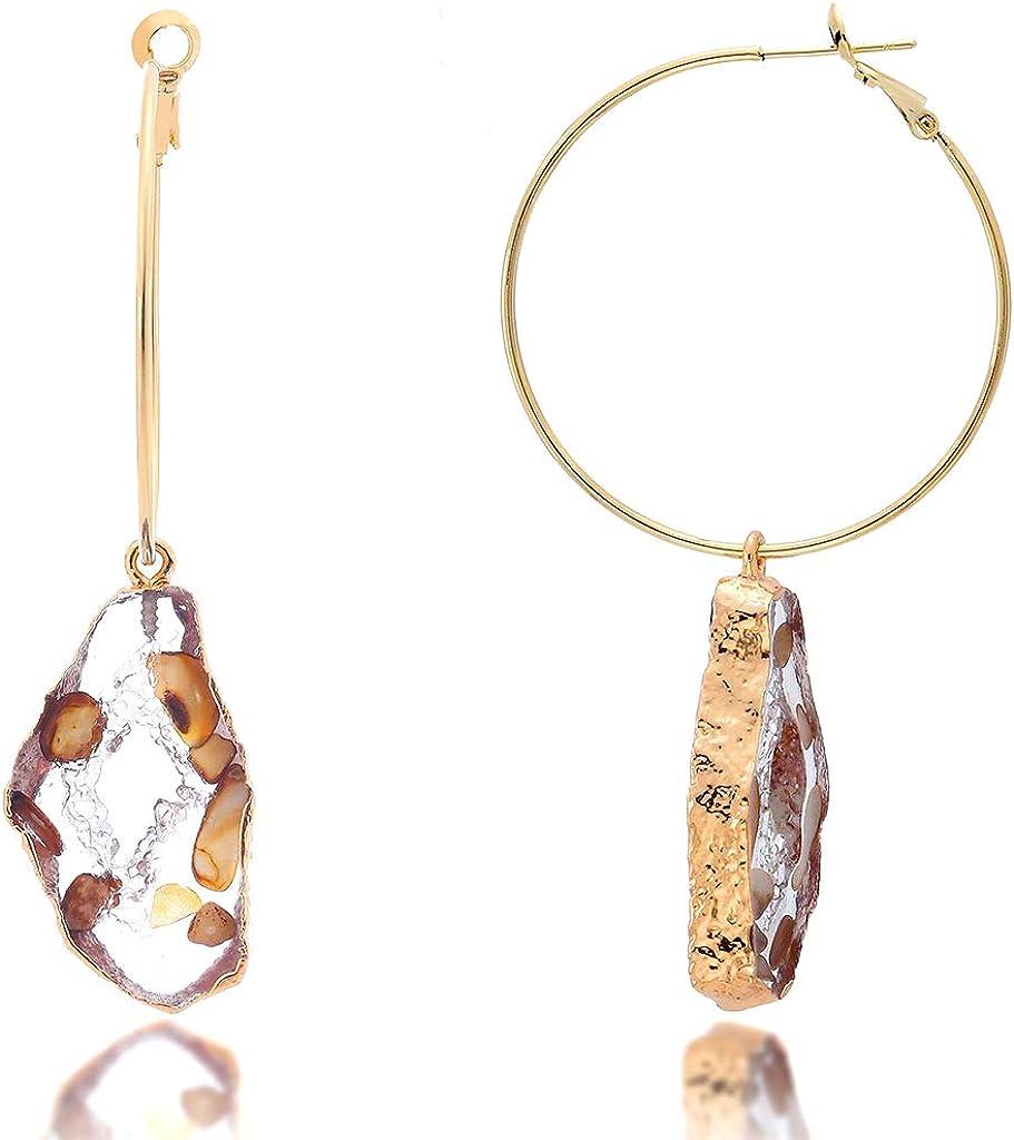 Gemstone earrings artisan earrings grey agate hoop earrings glass crystals and brass boho hoops