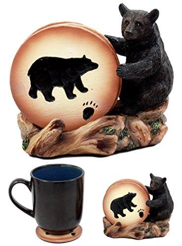 Ebros Gift Rustic Woodlands Black Bear Paw Coaster Set 4 Round Coasters Figurine Holder 4