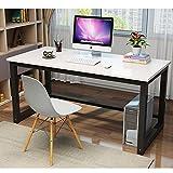 47'' Rectangular Table Modern Simple Style Dining Table/Office Desk/Computer Desk Easy Assembly, White & Black Leg