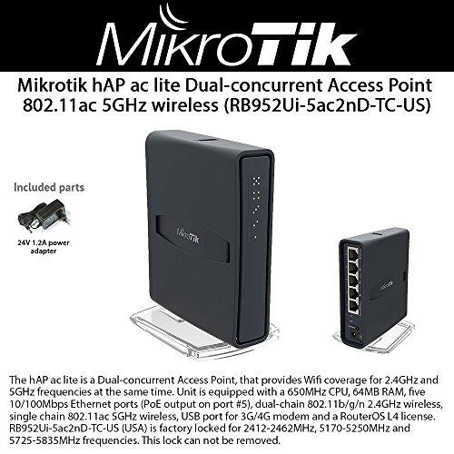 Mikrotik hAP ac lite (RB952Ui-5ac2nD-TC-US) Dual-concurrent Access Point 802.11ac 5GHz wireless by Mikrotik