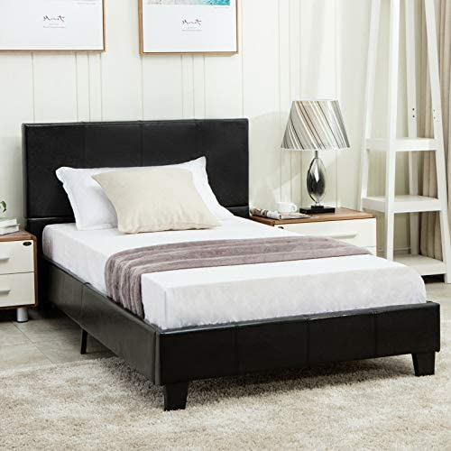 mecor Twin Size Bed Frame – Faux Leather Upholstered Bonded Platform Bed Panel Bed – with Headboard – No Box Spring Needed – for Children Teens Adults,Black Twin