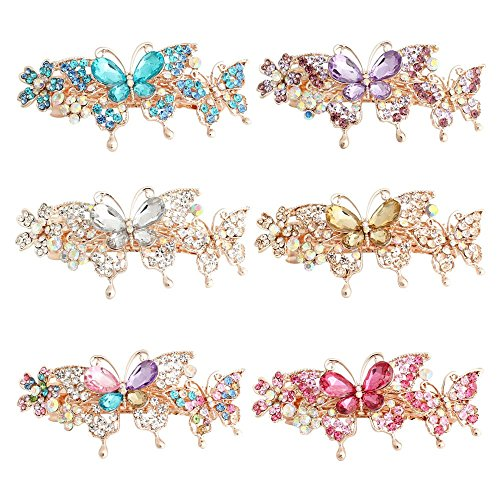 GSM-Accessories-Womens-Rhinestone-Mother-Daughter-Butterflies-Large-Size-Alloy-Hair-Clips-Barrettes-HC205