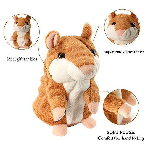 OLEY Plush Animals Soft Toys Cute Mimic Toy Pet Talking Hamster Repeats What You Say Electronic Hamster Mouse for Baby Boys and Girls Gift,3 x 5.7 inches( Brown )