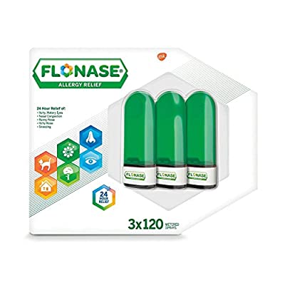 Flonase Fluticasone Propionate Nasal Spray for Allergy Relief, Twin Pack, 1.08 fl Oz (2x120 Metered Sprays)