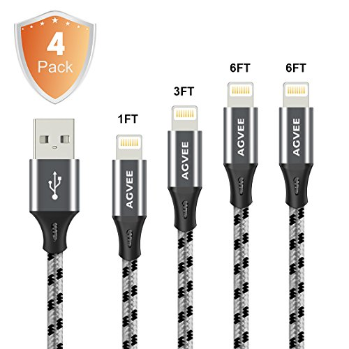 Cruel 4A Current Heavy Duty End Tip Unbreakable , Agvee 4 Pack 1FT 3FT 6FT 2m Lightning Cable Set Charger Nylon Braided Durable Fast Sync Cord to Car Charging for Apple iPhone 8 7 6s 6 Plus iOS iPad