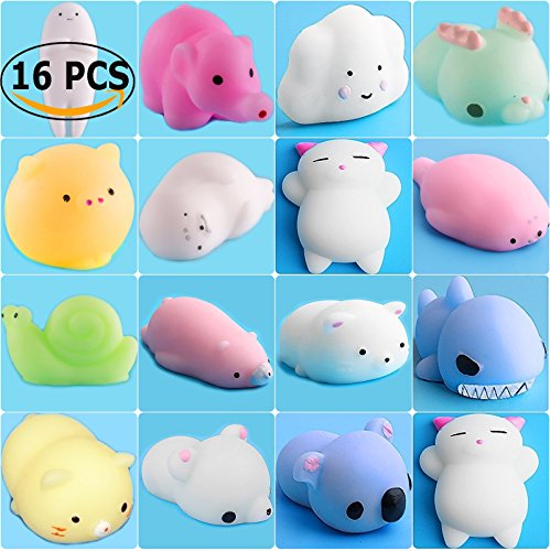 Shark Stress Reliever - ToopAir 16 Pcs Kawaii Mini Squishy, Prime Animals Mochi Squishies, Stress Reliever Squeeze Toys, Cute Seal, Elephant, Cat, Pig, Bear, Sheep, Shark, Perfect Gift for Kids and Adults