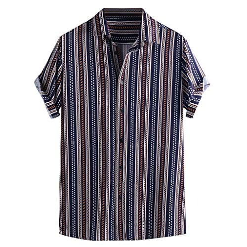 Hawaiian Shirts for Men Colorful Stripe Summer Short Sleeve Loose Casual T Shirt Blouse Blue
