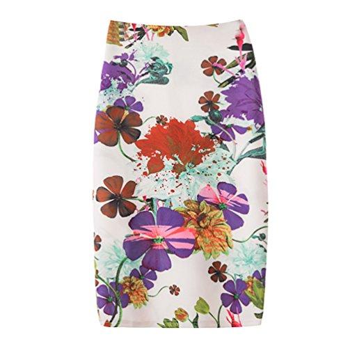 Yuanu Femme Doux Confortable Jupe Courte Serre Mode Impression Numrique Zipper Jupe Moulante Impression Style 7