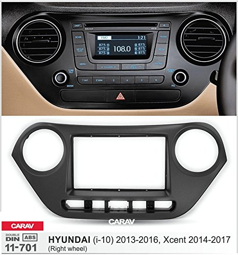 Carav 11-701 Double Din car dash installation kit Radio Stereo Facia Fascia Panel Frame DVD Player Dash Install Panel for HYUNDAI i-10 2013-2016 Xcent Right wheel with 17398mm 178100mm 178102mm by CARAV (Image #1)