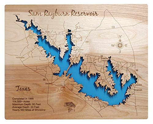 Sam Rayburn Reservoir, Texas: Standout Wood Map Wall Hanging