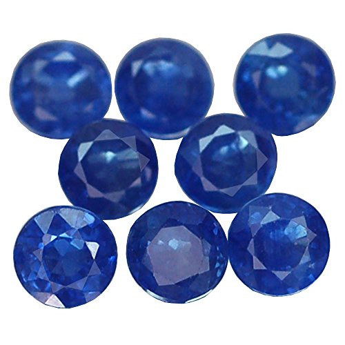 2.46CT MARVELOUS VVS 8PCS ROUND HEATED ONLY BLUE THAILAND SAPPHIRE (Heated Round Blue Sapphire)