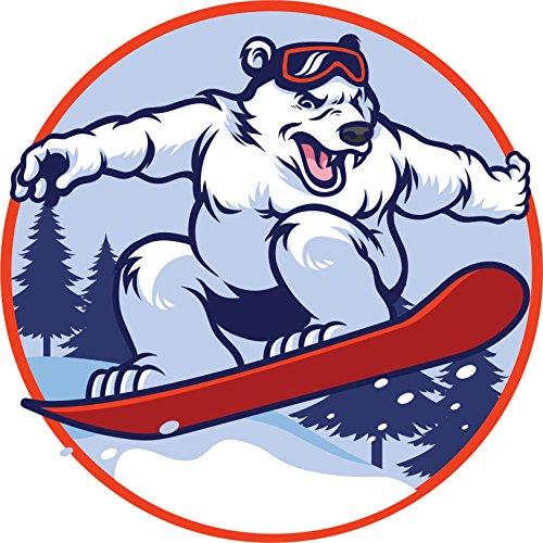 Polar Riding Bear (Shinobi Stickers Aggressive Angry Competitive Polar Bear Riding A Snowboard Cartoon Icon Vinyl Sticker (8