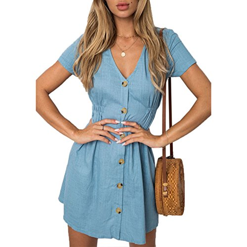 ANRABESS Womens Dresses-Summer Short Sleeve V Neck Button Down Swing Mini Dress Solid Color Casual Mini Dress