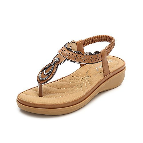 Wollanlily Women Summer Beach Flat Sandals Bohemia Flip-Flop Ankle Strap Thong Shoes Apricot-01 US 9